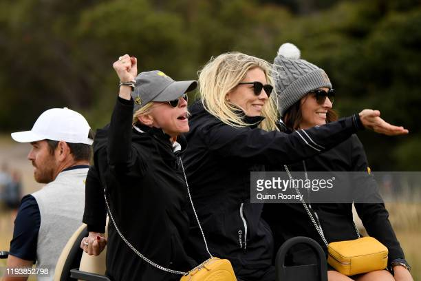 Louis Oosthuizen of South Africa and the International team his wife NelMare Oosthuizen and wife of Adam Scott of Australia and the International...