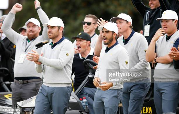 Louis Oosthuizen of South Africa and the International team Marc Leishman of Australia and the International team Abraham Ancer of Mexico and the...