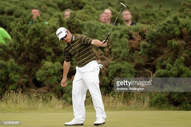 Louis Oosthuizen of South Africa celebrates an eagle putt on the ninth hole during the final round of the 139th Open Championship on the Old Course...