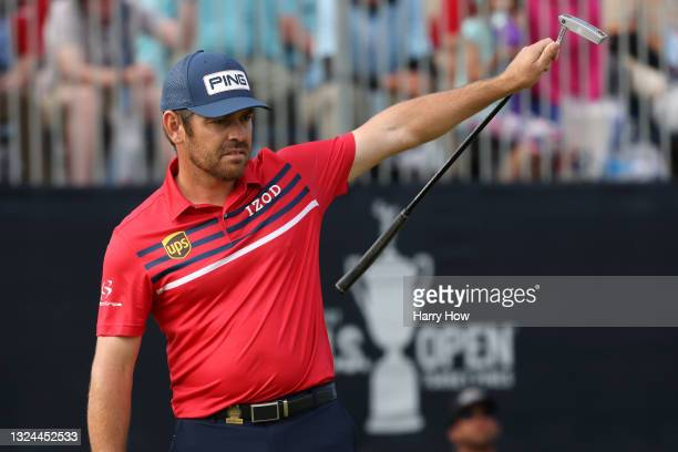 Louis Oosthuizen of South Africa celebrates making a long putt for eagle on the 18th green during the third round of the 2021 U.S. Open at Torrey...