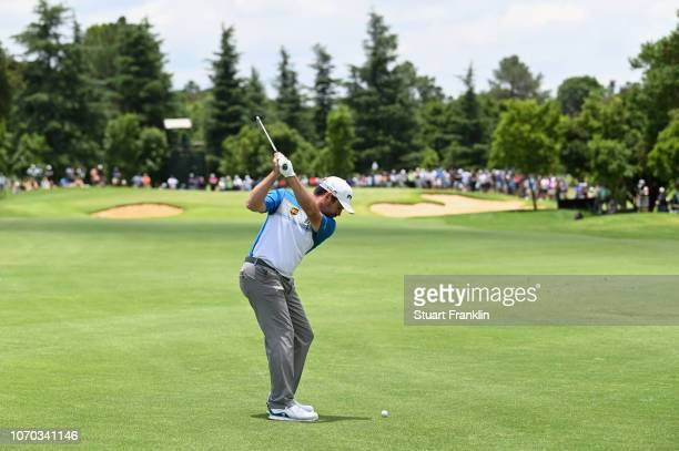 Louis Oosthuizen of South Africa hits a shot during the final round on day four of the South African Open at Randpark Golf Club on December 9 2018 in...