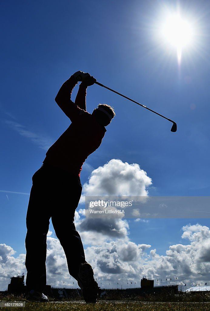 Louis Oosthuizen of South Africa hits a tee shot during a practice round prior to the start of The 143rd Open Championship at Royal Liverpool on July 15, 2014 in Hoylake, England.