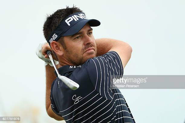 Louis Oosthuizen of South Africa hits a tee shot on the second hole during the final round of the Hero World Challenge at Albany The Bahamas on...