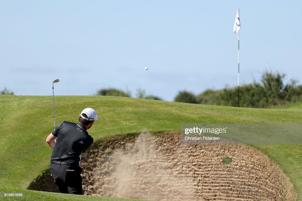 Louis Oosthuizen of South Africa hits from a bunker during a practice round prior to the 146th Open Championship at Royal Birkdale on July 17, 2017 in Southport, England.