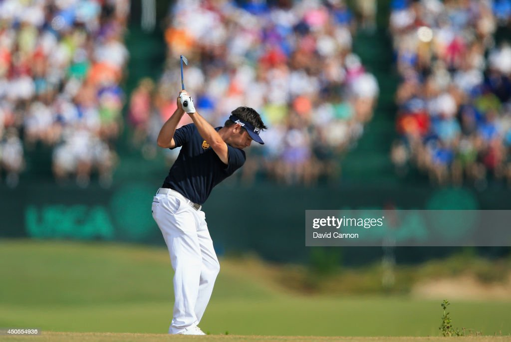 Louis Oosthuizen of South Africa hits his second shot on the 16th hole during the second round of the 114th U.S. Open at Pinehurst Resort & Country Club, Course No. 2 on June 13, 2014 in Pinehurst, North Carolina.