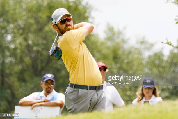 Louis Oosthuizen of South Africa hits his tee shot on during the first round of the ATT Byron Nelson on May 18 2017 at the TPC Four Seasons Resort in...