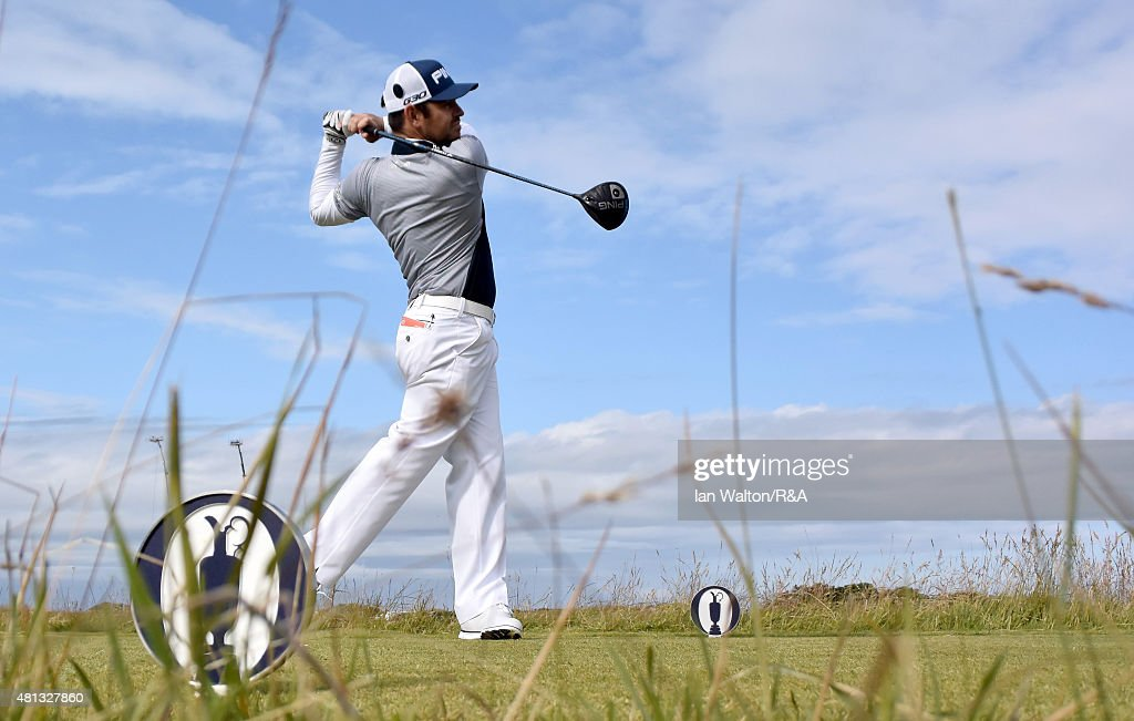 Louis Oosthuizen of South Africa hits his tee shot on the 15th hole during the third round of the 144th Open Championship at The Old Course on July 19, 2015 in St Andrews, Scotland.