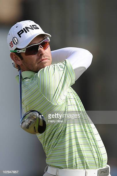 Louis Oosthuizen of South Africa hits his tee shot on the second hole during the third round of the 139th Open Championship on the Old Course St...