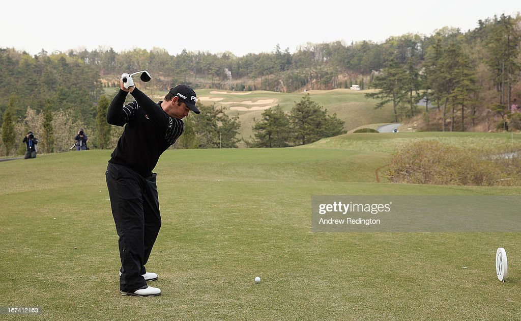Louis Oosthuizen of South Africa hits his tee-shot on the 11th hole during the first round of the Ballantine's Championship at Blackstone Golf Club on April 25, 2013 in Icheon, South Korea.