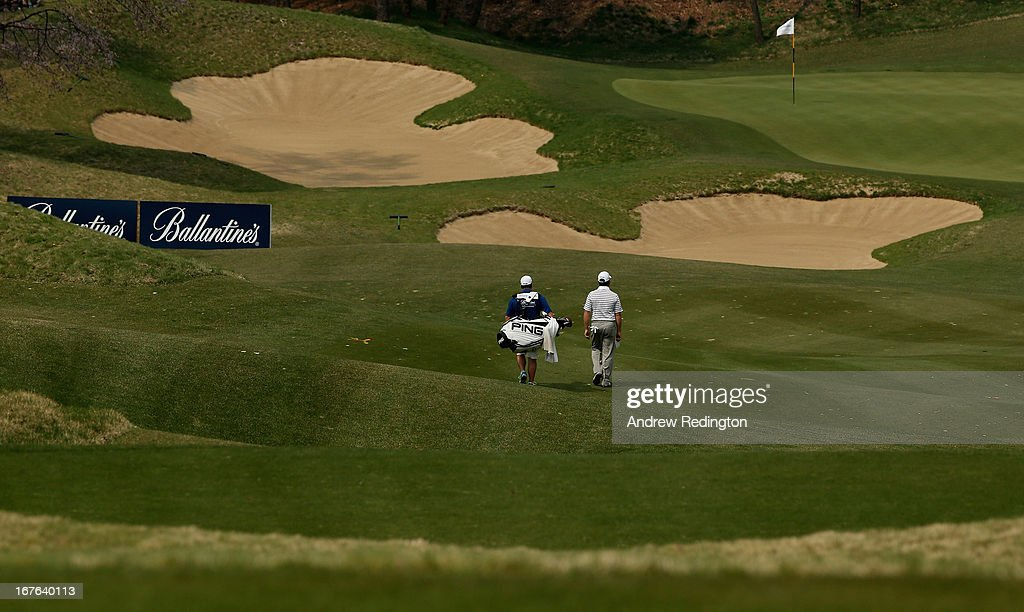 Louis Oosthuizen of South Africa in action during the third round of the Ballantine's Championship at Blackstone Golf Club on April 27, 2013 in Icheon, South Korea.