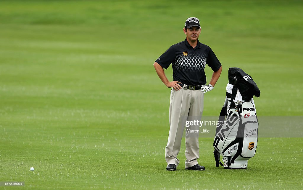 Louis Oosthuizen of South Africa looks on during the final round of the Nedbank Golf Challenge at the Gary Player Country Club on December 2, 2012 in Sun City, South Africa.