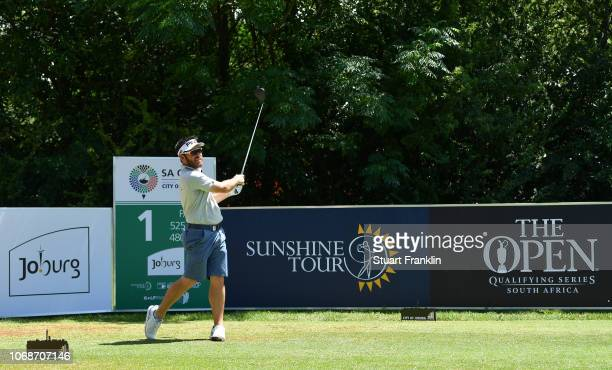 Louis Oosthuizen of South Africa plays a shot during a practice round prior to the start of the South Africa Open at Randpark Golf Club on December 5...