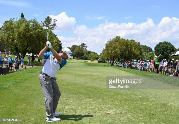 Louis Oosthuizen of South Africa plays a shot during the final round of the South African Open at Randpark Golf Club on December 9, 2018 in...