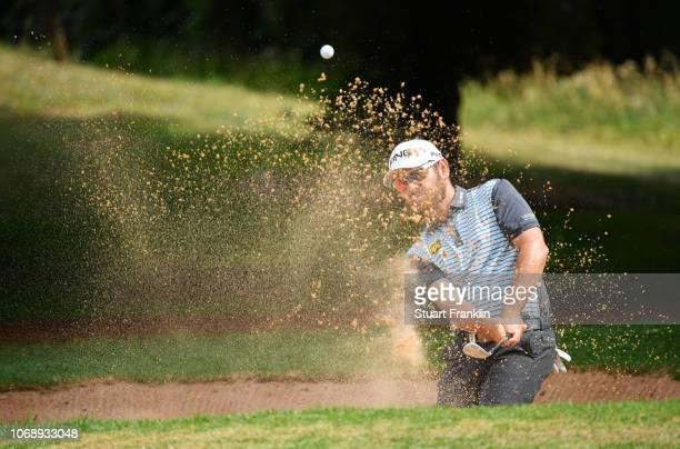 Louis Oosthuizen of South Africa plays a shot from a bunker during day one of the South African Open at Randpark Golf Club on December 6 2018 in...