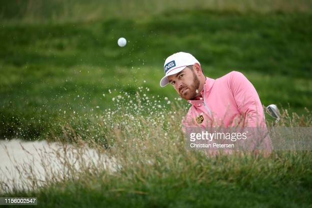 Louis Oosthuizen of South Africa plays a shot from a bunker on the 13th hole during the second round of the 2019 US Open at Pebble Beach Golf Links...