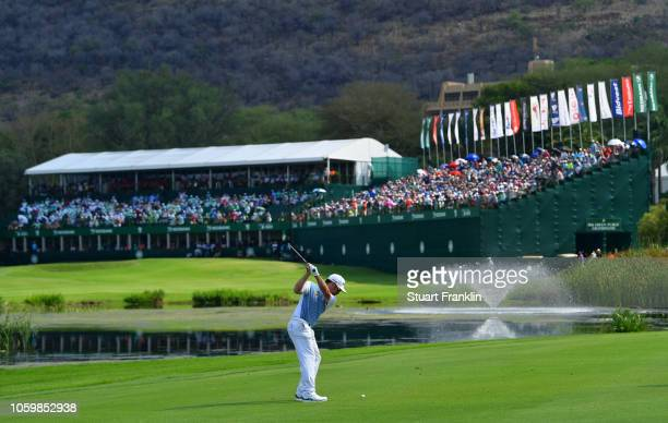 Louis Oosthuizen of South Africa plays a shot on the 18th hole during the third round of the Nedbank Golf Challenge at Gary Player CC on November 10...