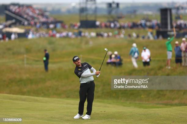 Louis Oosthuizen of South Africa plays his second shot on the 10th hole during Day One of The 149th Open at Royal St George's Golf Club on July 15,...
