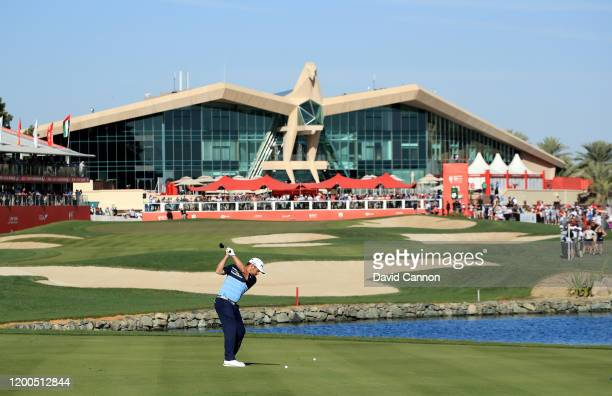Louis Oosthuizen of South Africa plays his second shot on the 18th hole during the final round of the Abu Dhabi HSBC Championship at Abu Dhabi Golf...