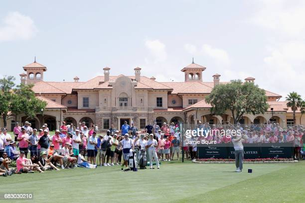 Louis Oosthuizen of South Africa plays his shot from the first tee during the final round of THE PLAYERS Championship at the Stadium course at TPC...