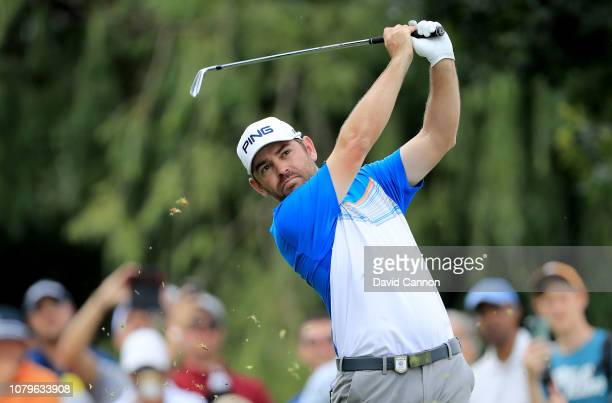 Louis Oosthuizen of South Africa plays his tee shot on te par 3, 17th hole during the final round of the South African Open on the Firethorn Course...