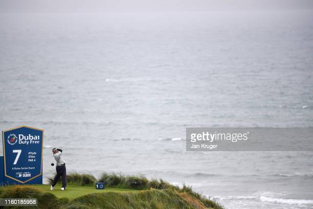 Louis Oosthuizen of South Africa plays his tee shot on the seventh hole during Day Two of the Dubai Duty Free Irish Open at Lahinch Golf Club on July...