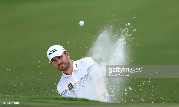 Louis Oosthuizen of South Africa plays his third shot on the par 4 first hole during the final round of the 2017 PGA Championship at Quail Hollow on...