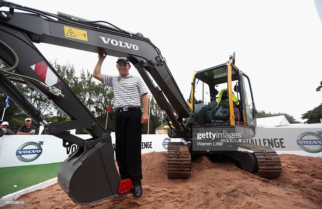Louis Oosthuizen of South Africa poses with his prize for winning the Amateur-Pro competition after the second round of the Volvo Golf Champions at Durban Country Club on January 11, 2013 in Durban, South Africa.