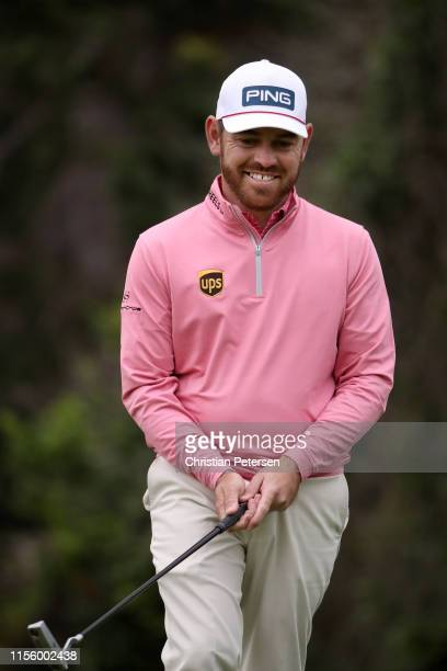 Louis Oosthuizen of South Africa reacts to a missed putt on the 16th hole during the second round of the 2019 US Open at Pebble Beach Golf Links on...