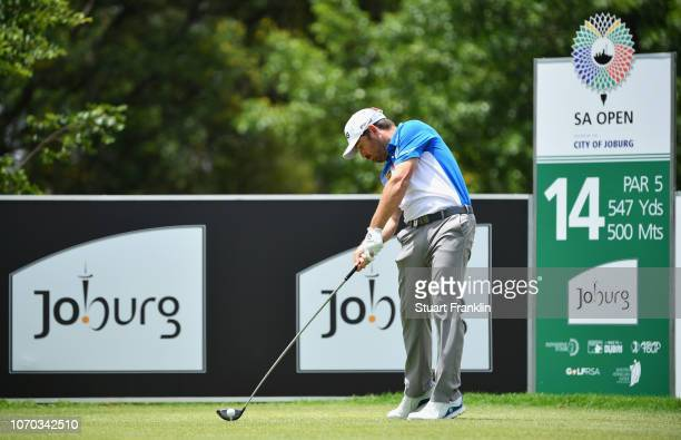 Louis Oosthuizen of South Africa tees off on the 14th hole during the final round on day four of the South African Open at Randpark Golf Club on...