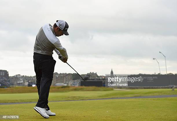 Louis Oosthuizen of South Africa tees off on the 17th hole in the playoff during the final round of the 144th Open Championship at The Old Course on...