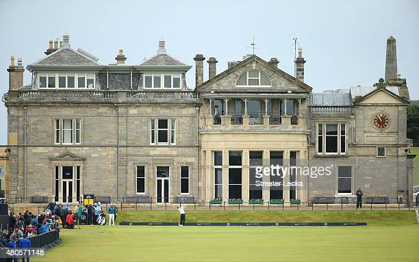 Louis Oosthuizen of South Africa tees off on the 1st hole during a practice round ahead of the 144th Open Championship at The Old Course on July 13...