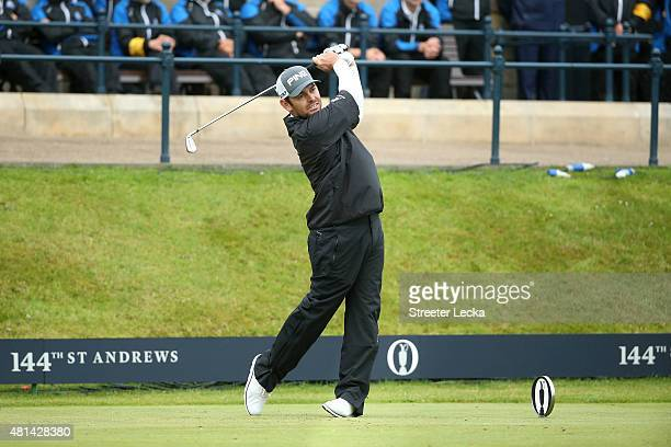 Louis Oosthuizen of South Africa tees off on the 1st hole of the playoff during the final round of the 144th Open Championship at The Old Course on...