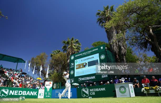 Louis Oosthuizen of South Africa tees off on the first hole during the third round of the Nedbank Golf Challenge at Gary Player CC on November 10...