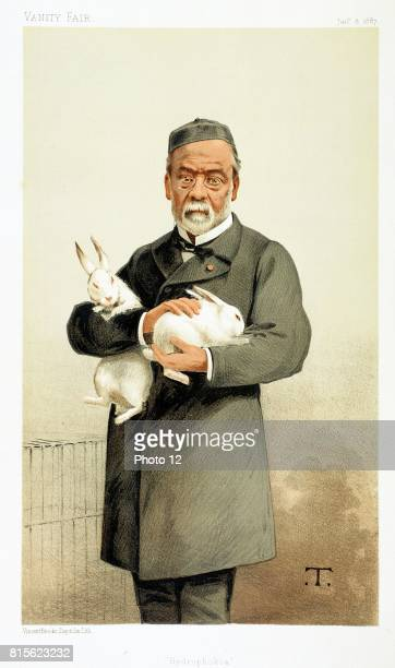 Louis Pasteur French chemist and founder of modern bacteriology here holding rabbits used in his work on Hydrophobia Cartoon from 'Vanity Fair'...
