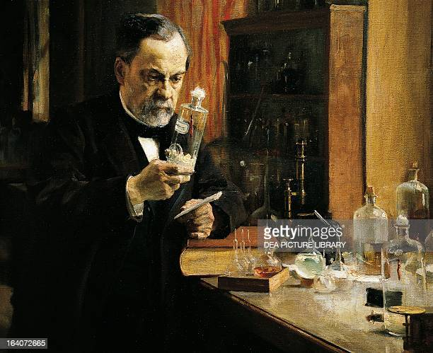Louis Pasteur French chemist biologist and microbiologist in his laboratory Painting by Albert Edelfelt detail Paris Musée D'Orsay