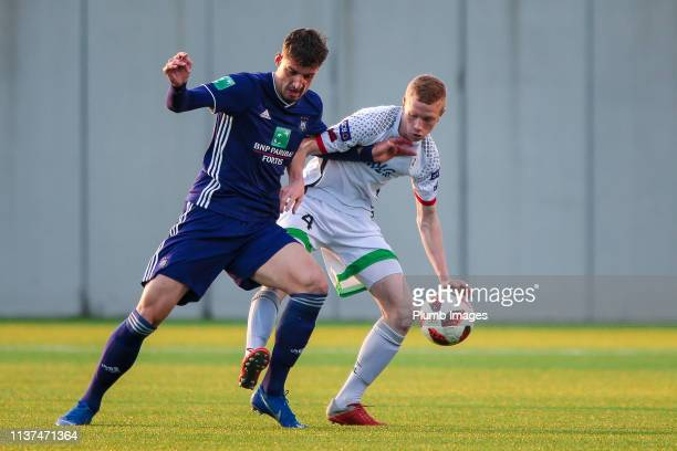 Louis Patris of OH Leuven during the Reserve Pro League Cup match between OH Leuven Beloften and RSC Anderlecht Reserve at the Neerpede training...