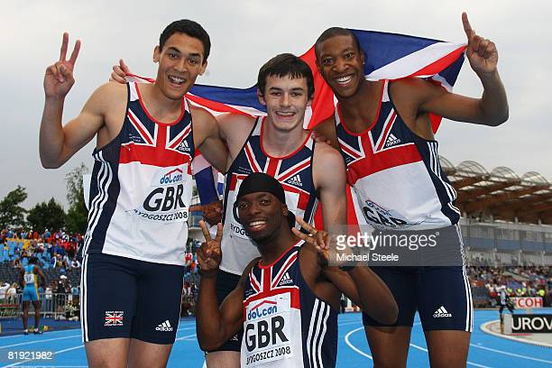 Louis Persent Jordan McGrath Robert Davis and Nigel Levine bottom celebrate winning silver in the men's 4x400m relay final during day six of the 12th...
