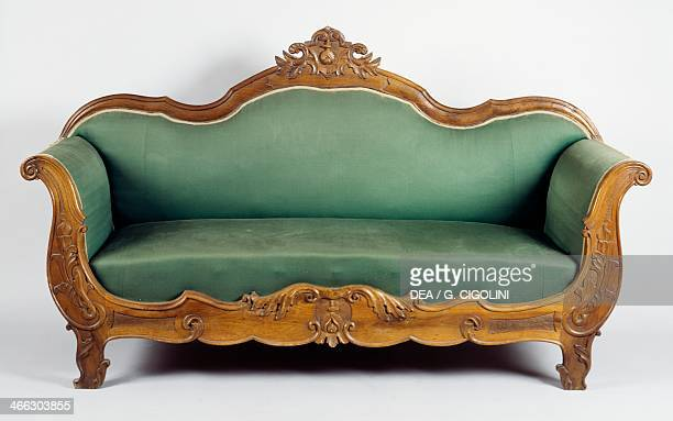 Louis Philippe style solid walnut sofa Italy mid 19th century