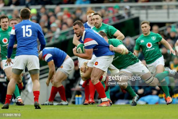 Louis Picamoles of France is tackled by Iain Henderson of Ireland during the Guinness Six Nations match between Ireland and France at Aviva Stadium...