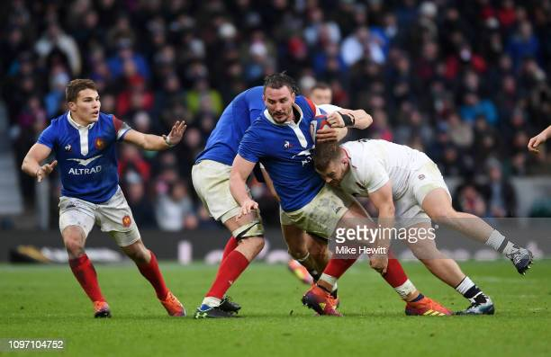Louis Picamoles of France is tackled by Luke Cowan-Dickie of England during the Guinness Six Nations match between England and France at Twickenham...