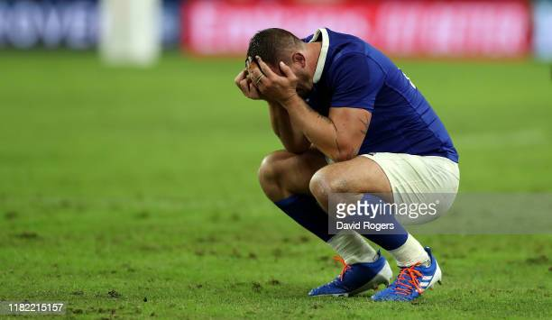 Louis Picamoles of France looks dejected after their defeat during the Rugby World Cup 2019 Quarter Final match between Wales and France at Oita...