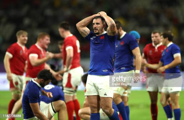Louis Picamoles of France looks on dejected after the Rugby World Cup 2019 Quarter Final match between Wales and France at Oita Stadium on October...