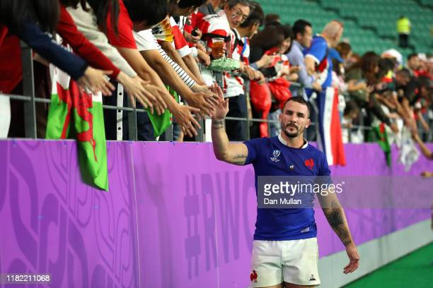 Louis Picamoles of France shows appreciation to the fans following defeat in the Rugby World Cup 2019 Quarter Final match between Wales and France at...