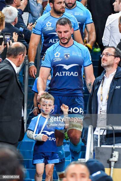 Louis Picamoles of Montpellier with his son during the French Final Top 14 match between Montpellier and Castres at Stade de France on June 2, 2018...