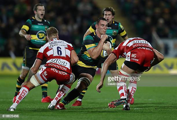 Louis Picamoles of Northampton charges upfield during the Aviva Premiership match between Northampton Saints and Gloucester Rugby at Franklin's...