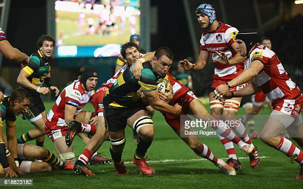 Louis Picamoles of Northampton charges upfield for the first try during the Aviva Premiership match between Northampton Saints and Gloucester Rugby...