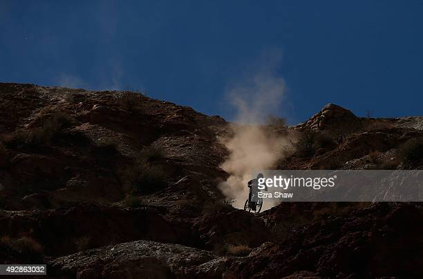 Louis Reboul of France goes down the hill during the qualification round for the Red Bull Rampage on October 15 2015 in Virgin Utah The Red Bull...