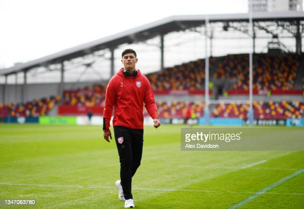 Louis Rees-Zammit of Gloucester arrives ahead of the Gallagher Premiership Rugby match between London Irish and Gloucester Rugby at Brentford...