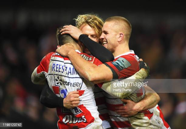 Louis Rees-Zammit of Gloucester Rugby celebrates after scoring his sides third try during the Gallagher Premiership Rugby match between Gloucester...
