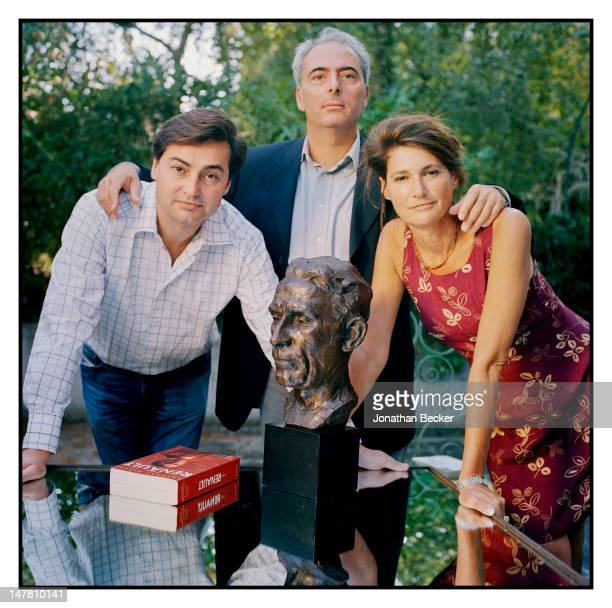 Louis Renault's grandson Louis Renault, biographer Laurent Dingli and Louis Renault's granddaughter Helene Renault-Dingle pose for Town & Country...